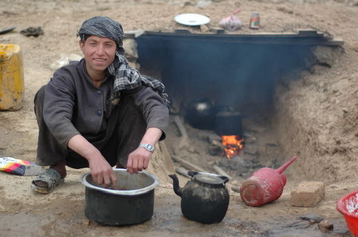 Making tea on the Panjshir hills: