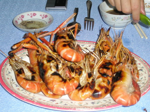 Mmmmmm ...: Barbecued freshwater crayfish, which came between the deep-fried little fish and the eel congee.