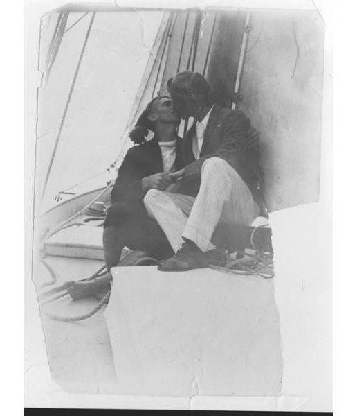 "The Kiss: Henry Winkelmann and Charley Horton in a ""passionate, lingering kiss on the mouth"" in a boat on the Waitemata, circa 1900. Auckland War Memorial Museum."