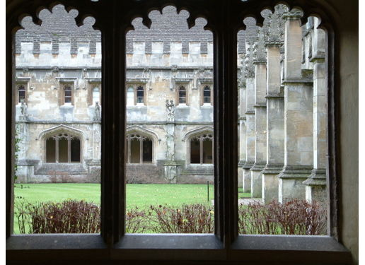 Magdalen Quad: A view through the windows around the sides of Magdalen (pron: Maudlin) College quad.
