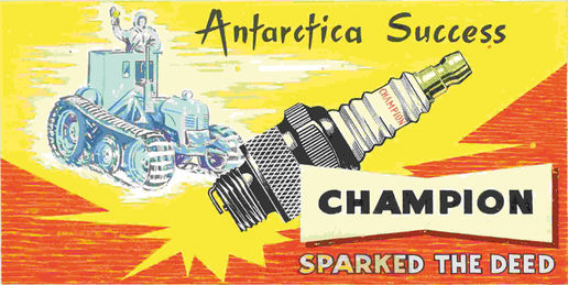 Champion sparkplugs: Billboard design (original artwork), Champion sparkplugs, Railways Studios, 1958.