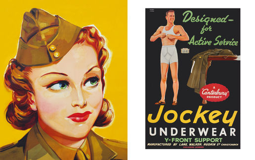 Jockey: (Left) Petone Woollens, c.1940; (Right) Jockey Underwear, c.1945 – Both by Railways Studios.