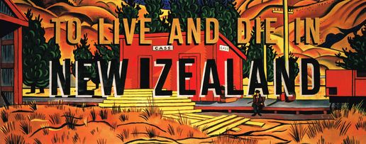 To Live and Die in New Zealand: To Live and Die in New Zealand, Ian Scott, 1989, Acrylic and enamel on canvas, 1815x4880m.